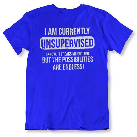 I Am Currently Unsupervised, Possibilities are Endless Funny T Shirt-Royal Blue-2XL-Daily Steals