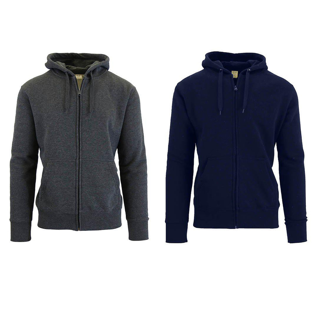Chandail à capuchon zippé doublé de molleton pour homme - Paquet de 2-Charcoal & Navy-2X-Large-Daily Steals