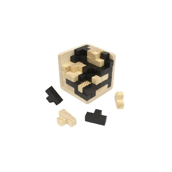 Daily Steals-Brain Teaser IQ Game Tetris Cube with Wooden 3D Puzzles - 54-Piece-Hobby and Toys-Black-