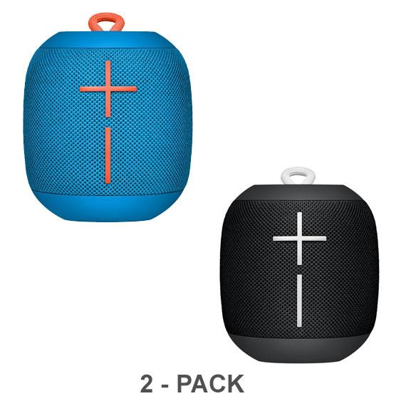 Daily Steals-Ultimate Ears WONDERBOOM Portable Waterproof Bluetooth Speaker - 2-Pack-Speakers (refurbished)-Subzero Blue/Phantom Black-
