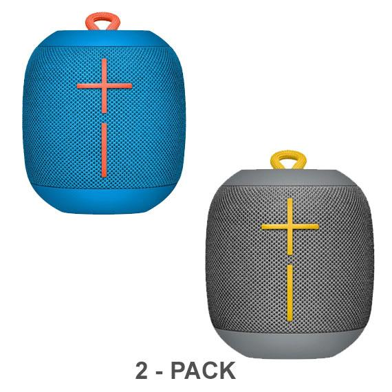 Daily Steals-Ultimate Ears WONDERBOOM Portable Waterproof Bluetooth Speaker - 2-Pack-Speakers (refurbished)-Subzero Blue/Stone Gray-