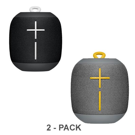 Daily Steals-Ultimate Ears WONDERBOOM Portable Waterproof Bluetooth Speaker - 2-Pack-Speakers (refurbished)-Phantom Black/Stone Gray-