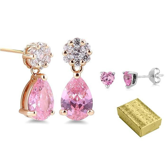 Daily Steals-Ultimate Valentine / Mother's Day Jewelry Pink Teardrop and Heart Stud Earring Set-Jewelry-