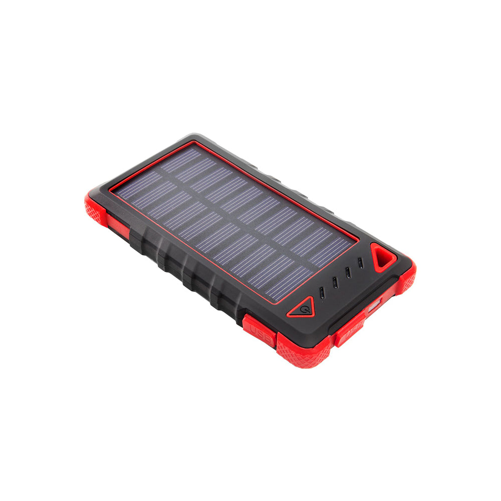 Ultra-Compact High-Speed 8,000mAh Portable Solar Smartphone Charger with LED Flashlight-Red-Daily Steals