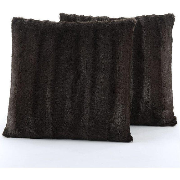 "Ultra Cozy Faux Fur Microplush Decorative Reversible Throw Pillows - 2 Pack-Chocolate-18"" x 18""-"