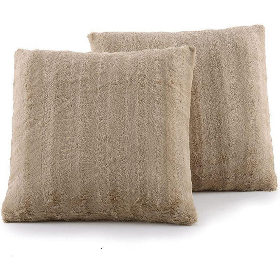 "Ultra Cozy Faux Fur Microplush Decorative Reversible Throw Pillows - 2 Pack-Sand-18"" x 18""-"