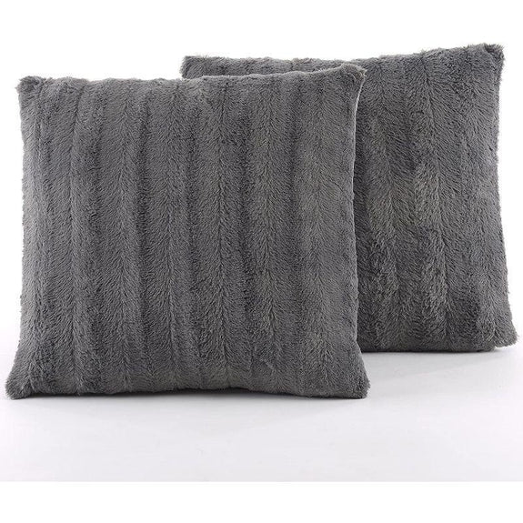 "Ultra Cozy Faux Fur Microplush Decorative Reversible Throw Pillows - 2 Pack-Grey-18"" x 18""-"