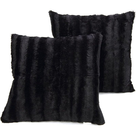 "Ultra Cozy Faux Fur Microplush Decorative Reversible Throw Pillows - 2 Pack-Black-18"" x 18""-"