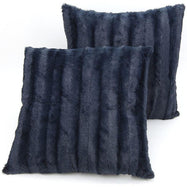 "Ultra Cozy Faux Fur Microplush Decorative Reversible Throw Pillows - 2 Pack-Blue-20"" x 20""-"