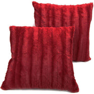 "Ultra Cozy Faux Fur Microplush Decorative Reversible Throw Pillows - 2 Pack-Maroon-20"" x 20""-"