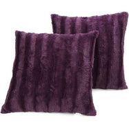"Ultra Cozy Faux Fur Microplush Decorative Reversible Throw Pillows - 2 Pack-Purple-20"" x 20""-"