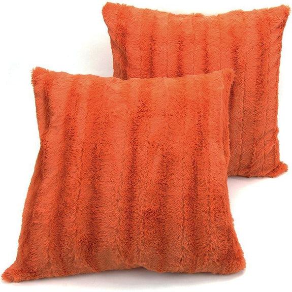 "Ultra Cozy Faux Fur Microplush Decorative Reversible Throw Pillows - 2 Pack-Rust-20"" x 20""-"