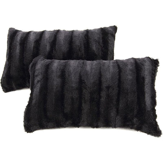 "Ultra Cozy Faux Fur Microplush Decorative Reversible Throw Pillows - 2 Pack-Black-12"" x 20""-"