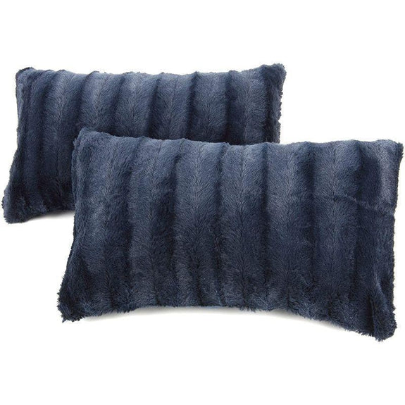 "Ultra Cozy Faux Fur Microplush Decorative Reversible Throw Pillows - 2 Pack-Blue-12"" x 20""-"