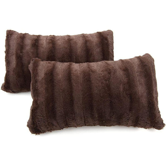 "Ultra Cozy Faux Fur Microplush Decorative Reversible Throw Pillows - 2 Pack-Chocolate-12"" x 20""-"