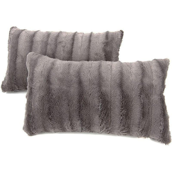 "Ultra Cozy Faux Fur Microplush Decorative Reversible Throw Pillows - 2 Pack-Grey-12"" x 20""-"