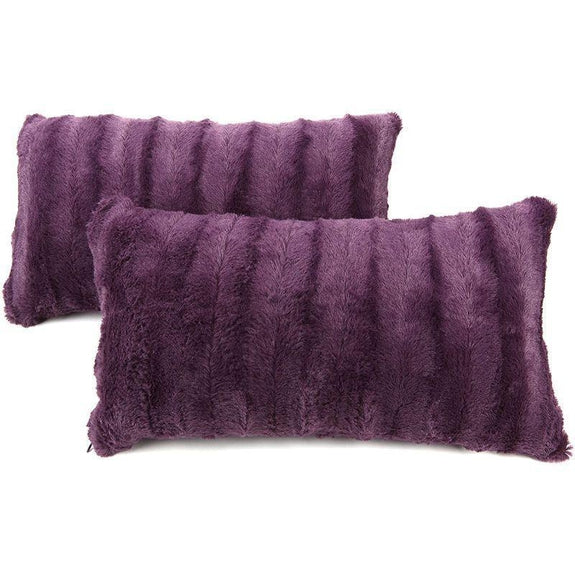 "Ultra Cozy Faux Fur Microplush Decorative Reversible Throw Pillows - 2 Pack-Purple-12"" x 20""-"