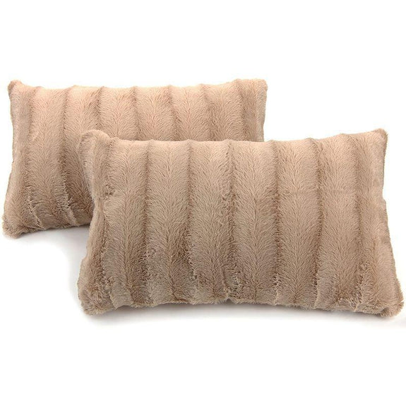 "Ultra Cozy Faux Fur Microplush Decorative Reversible Throw Pillows - 2 Pack-Sand-12"" x 20""-"