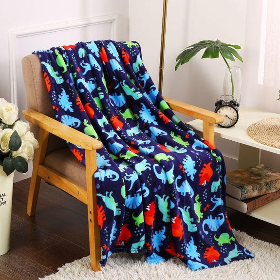 "Ultra Soft Microplush Holiday Throw Blanket 50"" X 60""-NAVY DINO-"