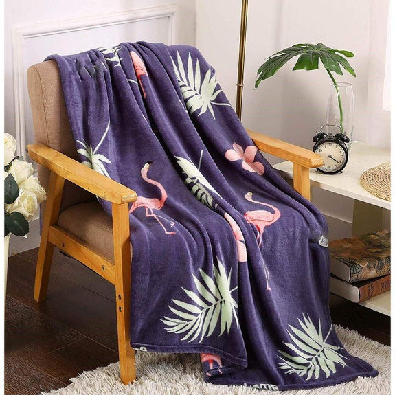 "Ultra Soft Microplush Holiday Throw Blanket 50"" X 60""-NAVY FLAMINGO-"