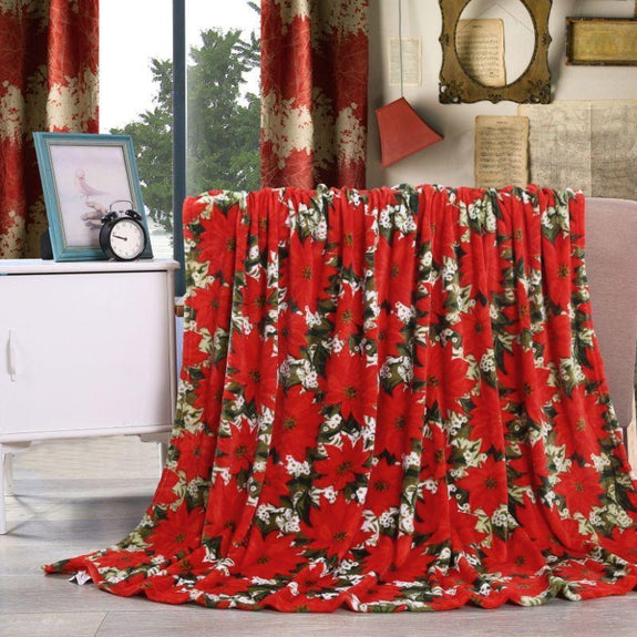 "Ultra Soft Microplush Holiday Throw Blanket 50"" X 60""-POINSETTIA-"