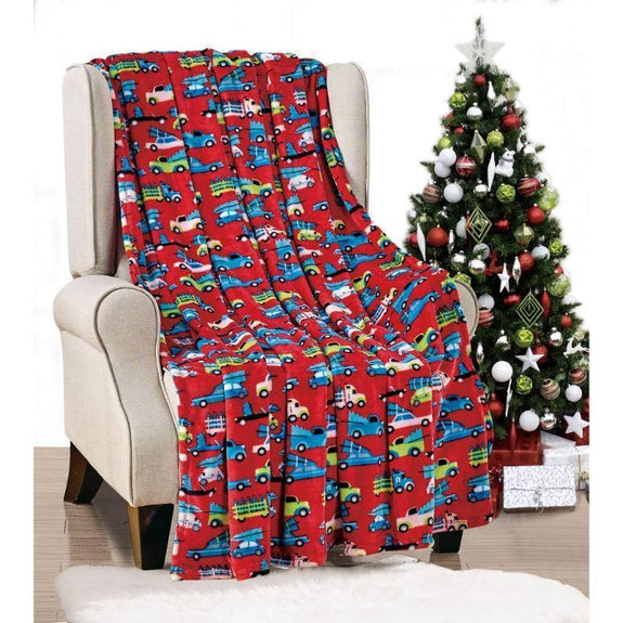 "Ultra Soft Microplush Holiday Throw Blanket 50"" X 60""-RED CARS-"