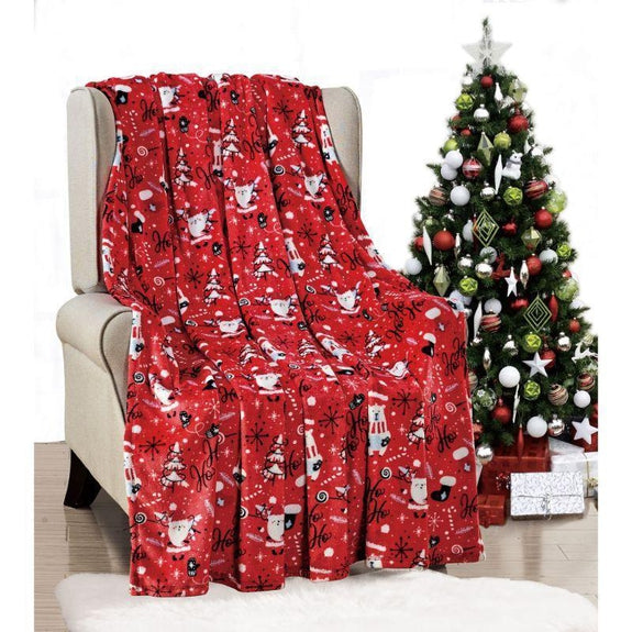 "Ultra Soft Microplush Holiday Throw Blanket 50"" X 60""-RED SANTA-"