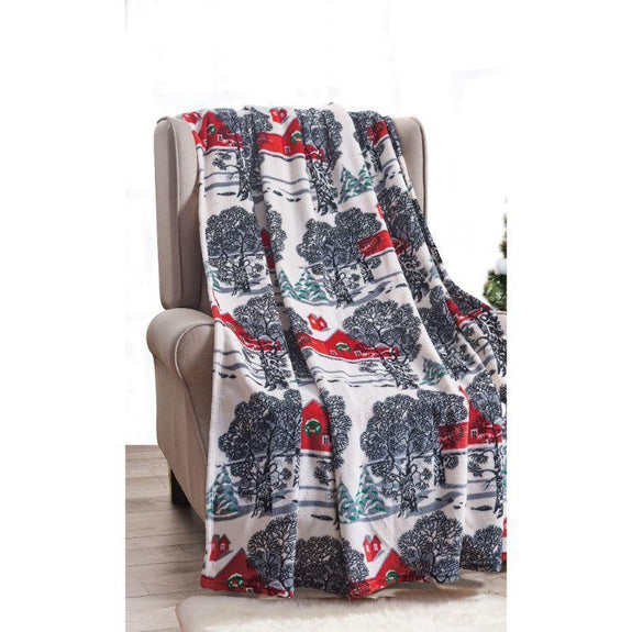"Ultra Soft Microplush Holiday Throw Blanket 50"" X 60""-WINTER BARN-"