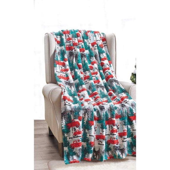"Ultra Soft Microplush Holiday Throw Blanket 50"" X 60""-CHRISTMAS PICKUP TRUCK-"