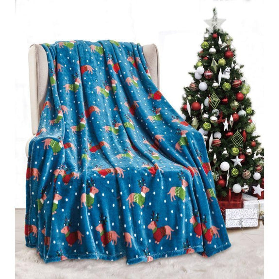 "Ultra Soft Microplush Holiday Throw Blanket 50"" X 60""-DOGS IN SWEATERS-"