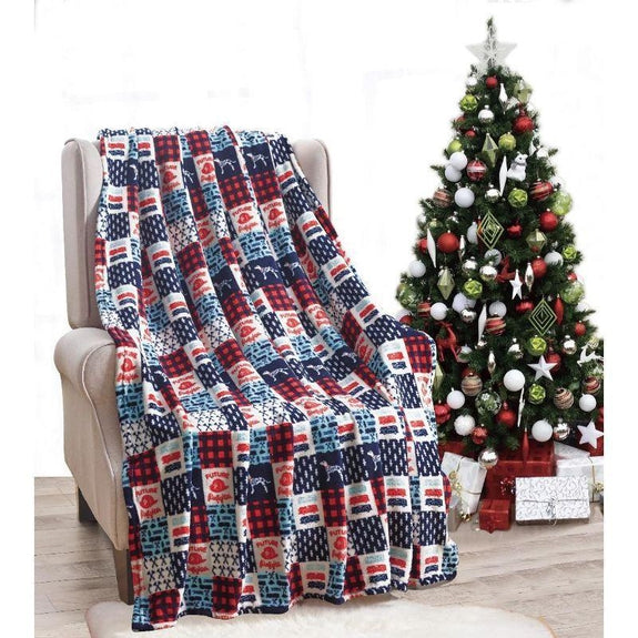 "Ultra Soft Microplush Holiday Throw Blanket 50"" X 60""-FIREFIGHTER PATCHWORK-"