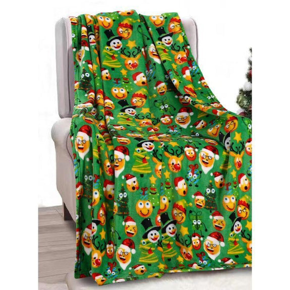 "Ultra Soft Microplush Holiday Throw Blanket 50"" X 60""-HOLIDAY FUNNY FACES-"