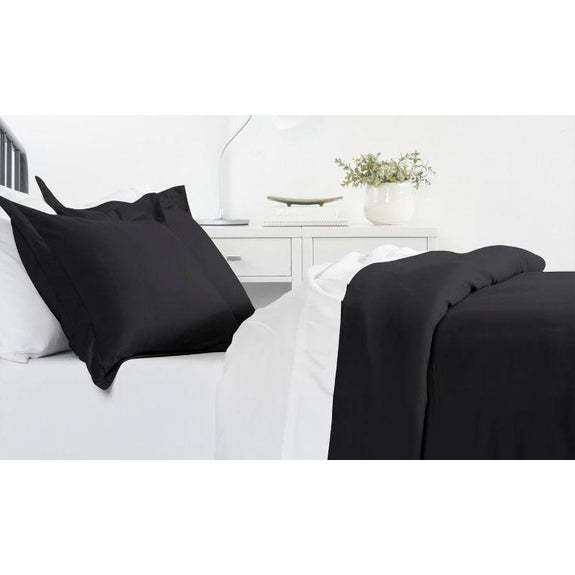Ultra-Soft Solid Duvet Cover Sets - 2 or 3 Piece-Black-Full/Queen-Daily Steals