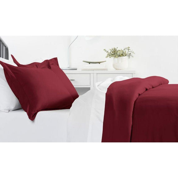 Ultra-Soft Solid Duvet Cover Sets - 2 or 3 Piece-Burgundy-Full/Queen-Daily Steals