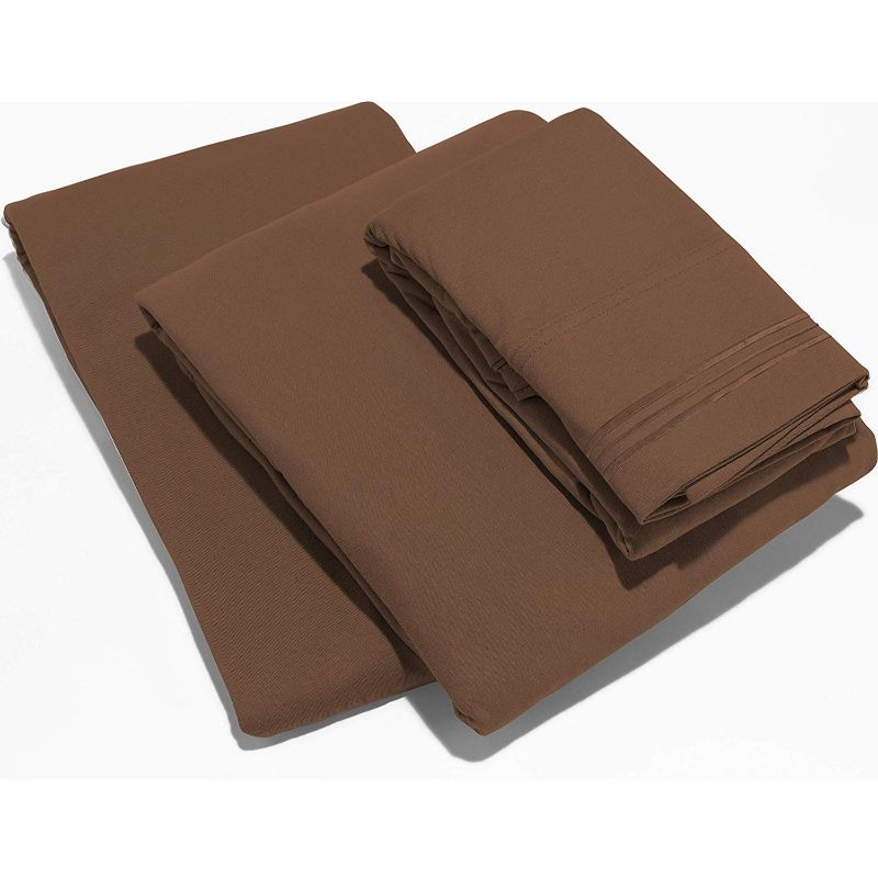 UltraSoft Egyptian Comfort Deep Pocket Brushed 1800 Series Sheets - 4 Piece-Choclate Brown-Twin-Daily Steals