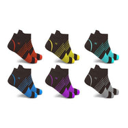 Ultra V-Striped Ankle Compression Socks - 6 Pairs-Solid-S/M-