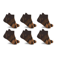 Ultra V-Striped Ankle Compression Socks - 6 Pairs-Copper-L/XL-