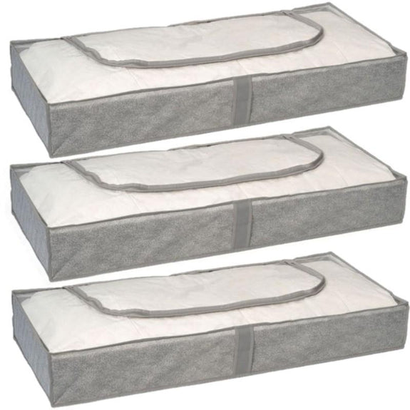 Under The Bed Storage Bags-Grey-3 Pack-