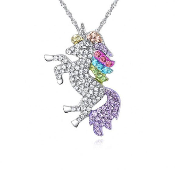 Multicolored Unicorn Pendant Necklace-Daily Steals