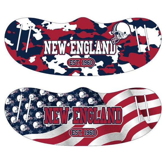 Unisex Camo and USA Flag Football Reusable Fabric Face Masks - 2 Pack-New England-