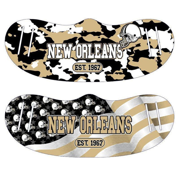 Unisex Camo and USA Flag Football Reusable Fabric Face Masks - 2 Pack-New Orleans-