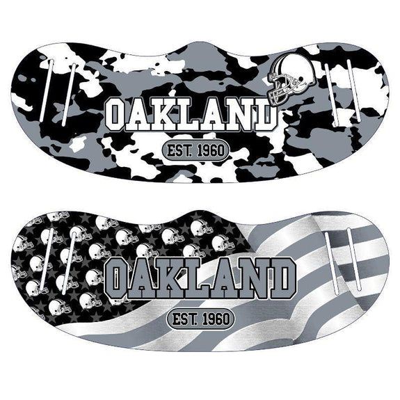 Unisex Camo and USA Flag Football Reusable Fabric Face Masks - 2 Pack-Oakland-