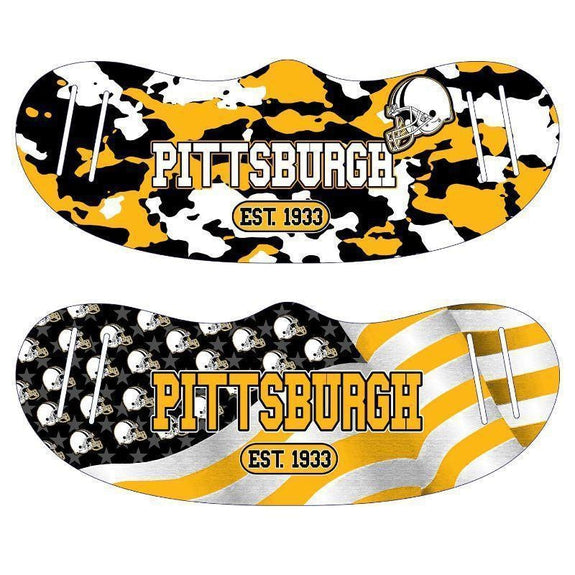 Unisex Camo and USA Flag Football Reusable Fabric Face Masks - 2 Pack-Pittsburgh-