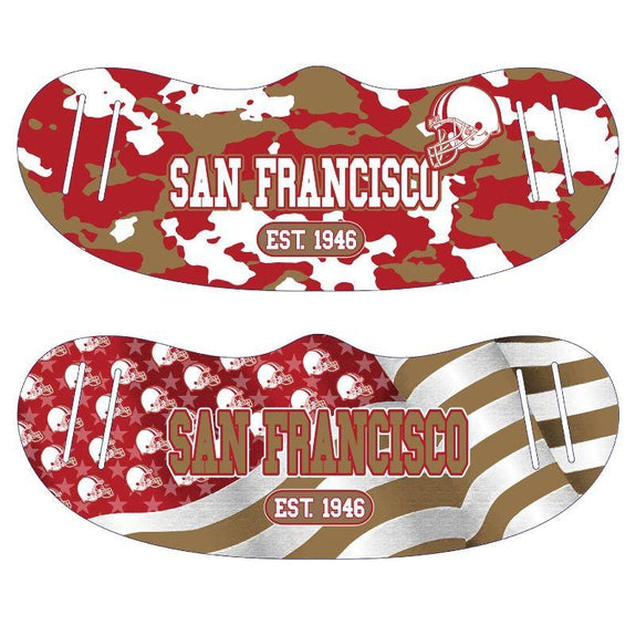 Unisex Camo and USA Flag Football Reusable Fabric Face Masks - 2 Pack-San Francisco-