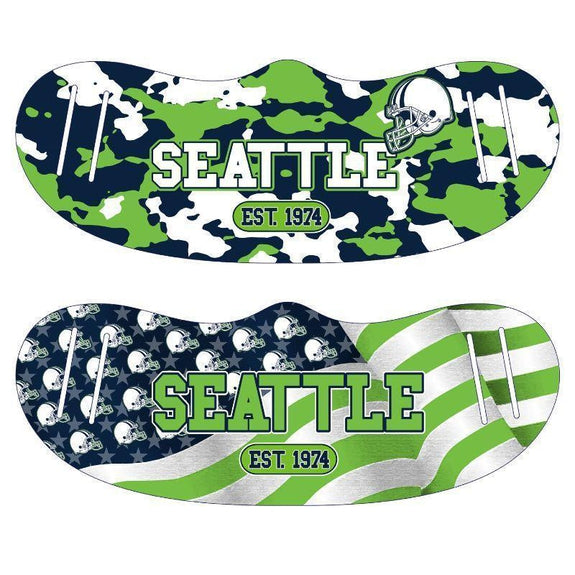 Unisex Camo and USA Flag Football Reusable Fabric Face Masks - 2 Pack-Seattle-