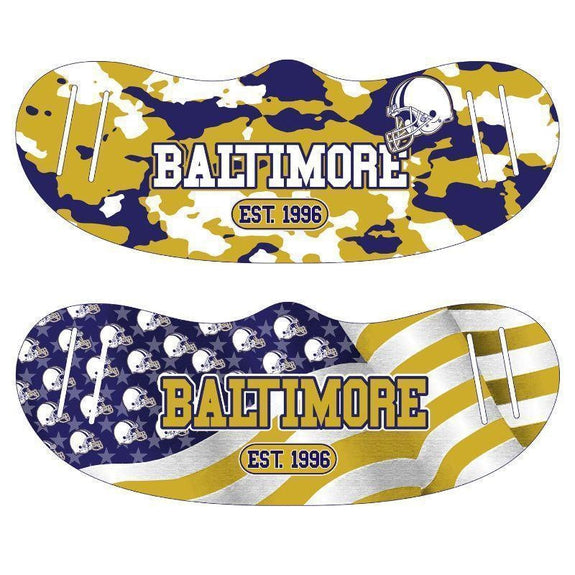 Unisex Camo and USA Flag Football Reusable Fabric Face Masks - 2 Pack-Baltimore-