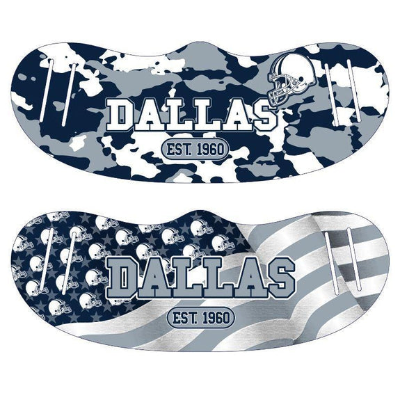 Unisex Camo and USA Flag Football Reusable Fabric Face Masks - 2 Pack-Dallas-