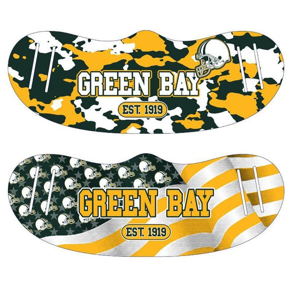Unisex Camo and USA Flag Football Reusable Fabric Face Masks - 2 Pack-Green Bay-