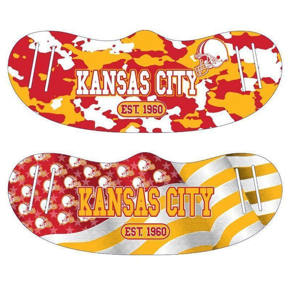 Unisex Camo and USA Flag Football Reusable Fabric Face Masks - 2 Pack-Kansas City-