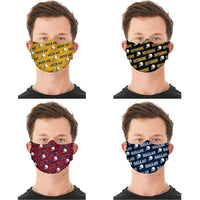 Unisex Repeat Football Themed Reusable Fabric Face Masks - 2 Pack-Washington-